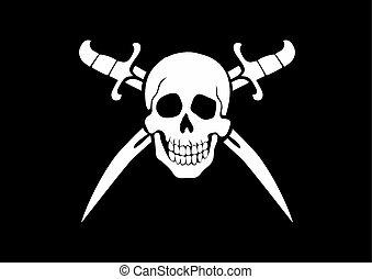 Jolly Roger Black - black and white pirate flag Jolly Roger...