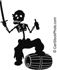 Jolly Roger, black silhouette - Jolly Roger, pirate - zombie...