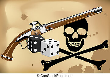 Jolly Roger, blunderbuss and dice on brown background