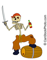 Jolly Roger - Evil zombie pirate jolly skeleton with a...