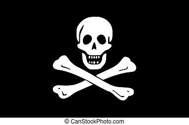 Jolly Roger flag - Illustration of jolly roger or skull and...