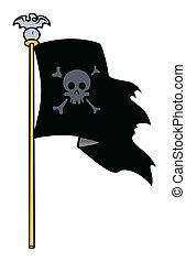 Jolly Roger Flag - Vector Cartoon