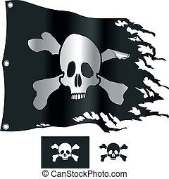Jolly Roger flag. Vector illustration