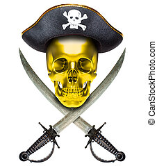 Jolly Roger gold - Jolly Roger in a cocked hat with sabers