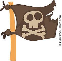 Jolly Roger icon, cartoon style