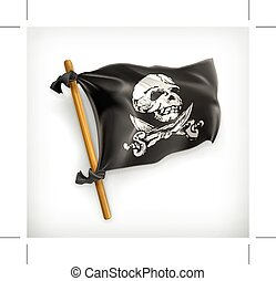 Jolly Roger icon - Jolly Roger, icon flag, isolated on white...