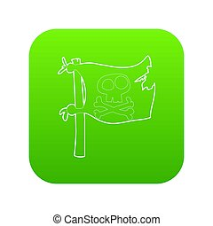 Jolly Roger icon green isolated on white background