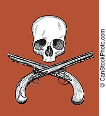 Jolly Roger - Hand drawn dead head with two crossed...