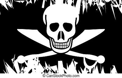 Jolly Roger. - Jolly Roger flag in grunge style. Vector...