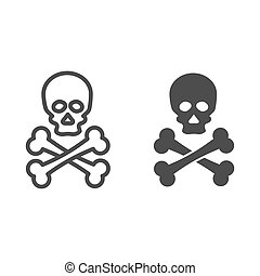 Jolly roger line and solid icon. Death warning, skull and crossbones symbol, outline style pictogram on white background. Warfare or danger sign for mobile concept and web design. Vector graphics.
