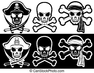 Jolly Roger, Pirate attributes, Skull and Crossbones silhouette