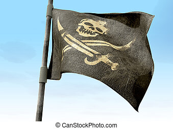 Jolly Roger Pirate Flag Closeup