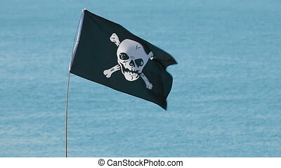 Jolly Roger - Pirate flag in the wind