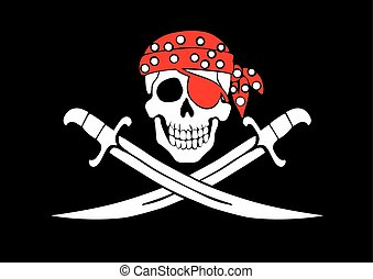 Jolly Roger pirate flag with skull and swords in bandana