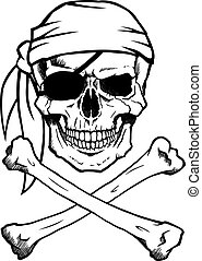Jolly Roger pirate skull and crossbones - Black and white...