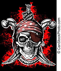 Jolly Roger, pirate symbol with crossed daggers and rope on...