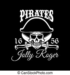 Jolly Roger pirate vector flag or poster