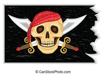 Jolly Roger Pirates\' Flag - The Jolly Roger - Pirate black...