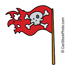 Jolly Roger Red Flag - Vector - Drawing Art of Cartoon...