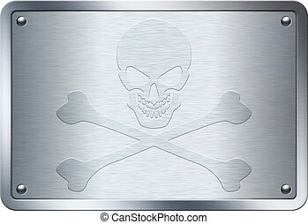 Jolly Roger sign embossed on metal plate