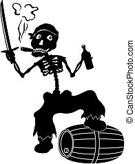 Cartoon evil zombie pirate Jolly Roger skeleton with a sword, a bottle of wine and a barrel smoking a cigar, black silhouettes on white background. Vector