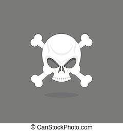 Jolly Roger. Skull and bones.