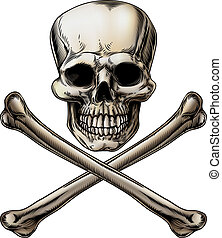 Jolly Roger Skull and Crossbones Si - An illustration of a...