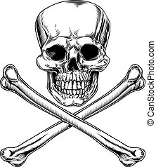 Skull and Crossbones Jolly Roger vintage pirate style sign or poison sign