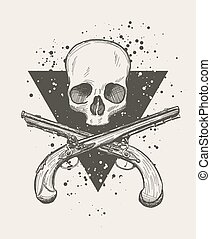 Jolly roger skull - Hand drawn doodle skull with two...