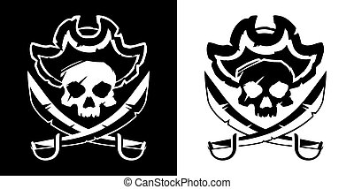 Jolly Roger skull in a hat and crossed swords symbol vector