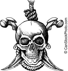 Original Jolly Rogger Skull with two knifes, bones and rope for hanging