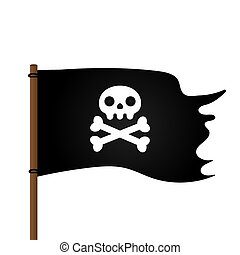 Jolly Roger skull, pirate flag and crossing bones flat style design vector illustration.