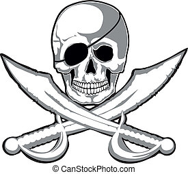 Jolly Roger - Smiling skull and two pirate swords isolated. ...