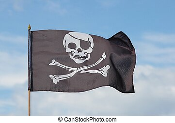 Jolly Roger flag against blue sky