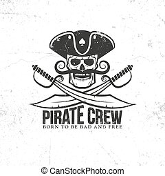 Jolly Roger tattoo - pirate skull with a mustache, with...