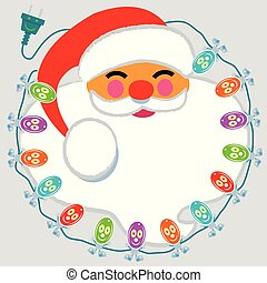 Jolly Santa Claus face surrounded by happy lights