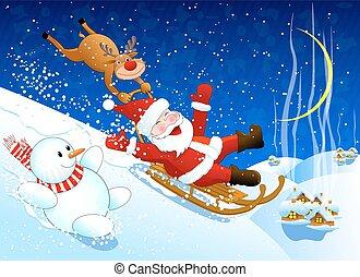 Jolly Santa Claus coming down the hill on a sled Santa,...