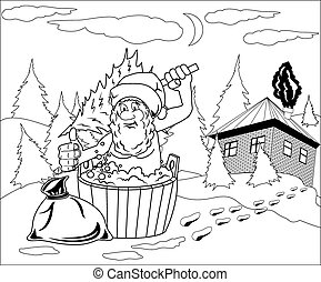 Santa Claus takes a bath - Jolly Santa Claus takes a bath ...