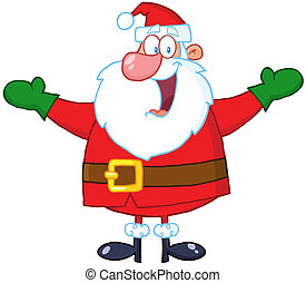 Jolly Santa Claus With Open Arms