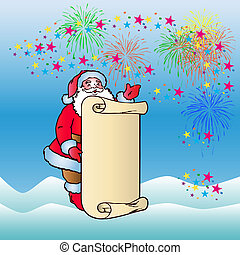 Jolly Santa is holding an empty scroll. Colorful Cartoon on firework background