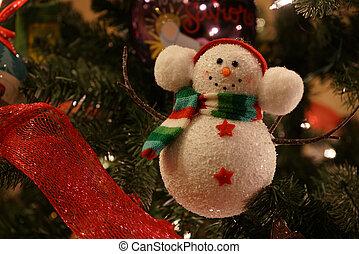 Jolly snowman ornament on a Christmas Tree