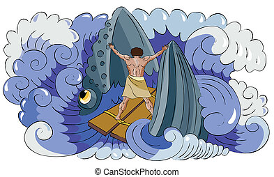 Jon and fish - Fish (whale) swallows to the Jonah and Jonah...
