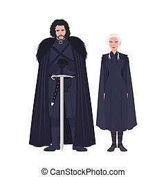 Jon Snow and Daenerys Targaryen dressed in black clothing. Game of Thrones novel and TV series most popular fictional characters isolated on white background. Flat colorful vector illustration.