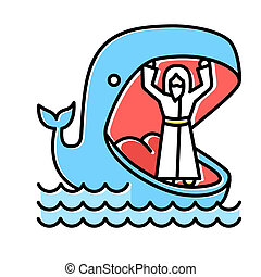 Jonah and whale blue color icon. Old Testament story. Jonahs miraculous return from jaws of huge fish. Repentance and forgiveness. Bible narrative. Isolated vector illustration