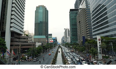 jonc, journée, heure, en ville, confiture, trafic, cityscape, avenue