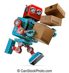jonc, paquet, package., isolated., contient, robot, livrer, attachant voie accès, service.