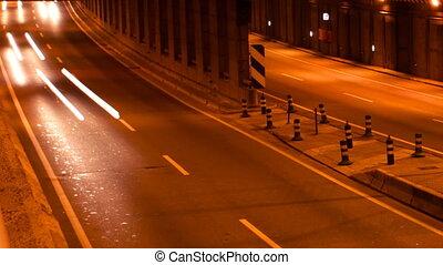 jonc, timelapse, autoroute, scène, barcelone, trafic, temps...