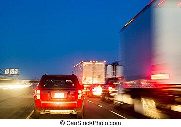 jonc, trafic, heure, congestion