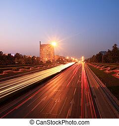 jonc, trafic, heure, crépuscule