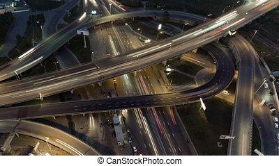 jonction, altitude, highway., survol, flight., élevé, bourdon, aérien, lumière, nuit, complexe, route, sunset.